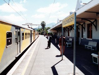 A Metro train from Cape Town, just arrived at Stellenbosch