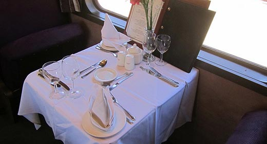 Dining-car on the Premier Classe train to Johannesburg