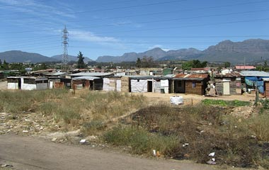 South African shanty town approaching Cape Town