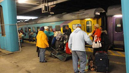 The Shosholoza Meyl train from Johannesburg has arrived at Cape Town station