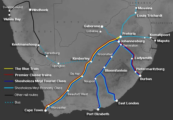 Shosholoza Meyl train routes in South Africa