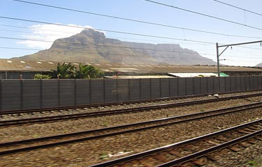 Table Mountain, Cape Town, seen from the train