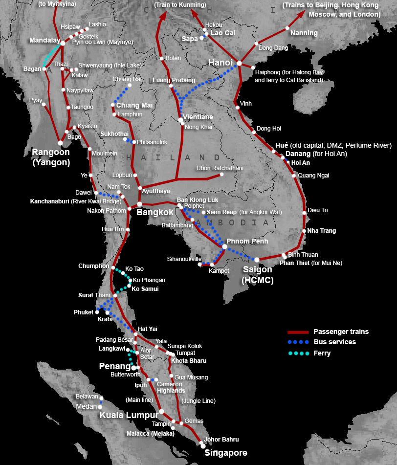 Map of train routes in Singapore Malaysia Thailand Vietnam Burma
