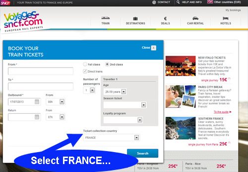 Selecting the ticket collection country on www.voyages-sncf.com