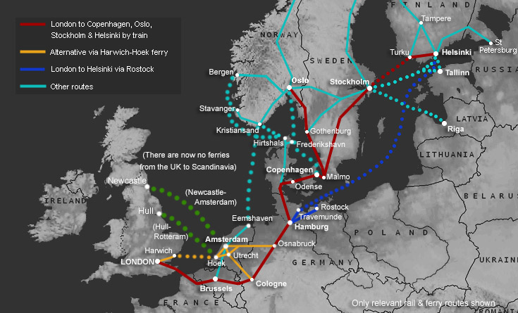 interactive map london to oslo norway scandinavia by train ferry