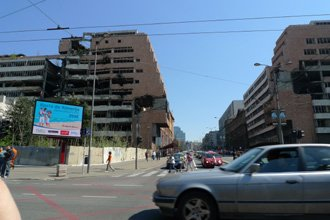 Belgrade's rocket-damaged Ministry of Defence