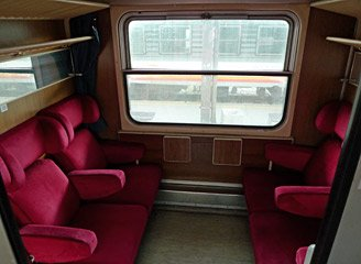 1st class compartment on day train from Belgrade to Skopje