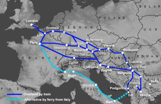 Route map:  London to Serbia by train