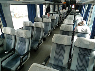 2nd class seats in a Serbian air-conditioned train