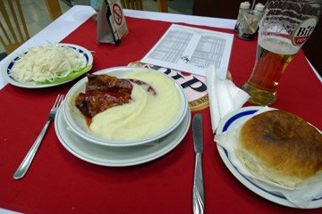 Meal at Zelturist restaurant, Belgrade station