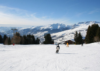 A beginner's ski slope at Les Arcs 1800 in the French Alps.  Easy to reach on Rail Europe's Snow Train or the Eurostar Ski Train