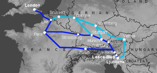 Route map:  London to Ljubljana & Lake Bled by train