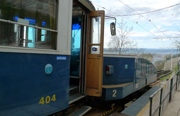 Trieste-Villa Opicina tram showing the tram buffered up to the drogue for climbing the escarpment