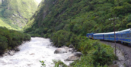 The train from Cusco to Machu Picchu in Peru