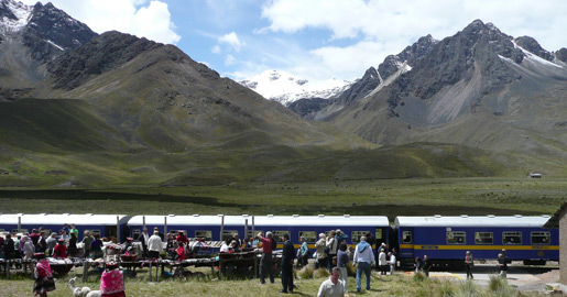 The Andean Explorer from Cusco to Puno stopped at La Raya for a photo opportunity