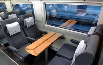 AVE Tourist class seats on an S102 AVE train from Madrid to Malaga