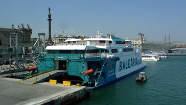 Balearia fast ferry 'Jaume I' about to sail from Barcelona to Minorca & Alcudia on Mallorca