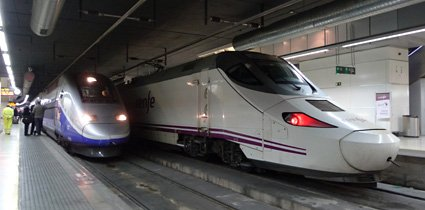 A EuroMed train from Barcelona to Alicante at barcelona Sants station