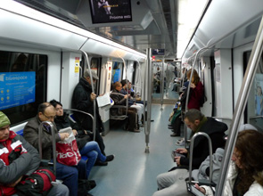 Inside a Barcelona metro train