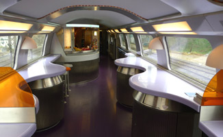 Cafe-bar on the upper deck of a TGV Duplex
