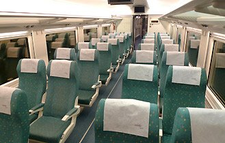 Turista (2nd class) seats on a EuroMed train to Alicante