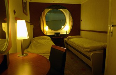The ferry to Spain:  A standard 2-berth cabin on Brittany Ferries Pont Aven