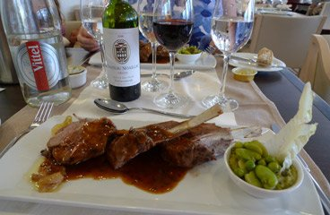 The ferry to Spain:  Rack of lamb in La Flora restaurant on the Pont Aven