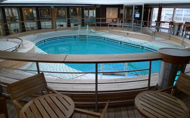 The ferry to Spain:  The indoor swimming pool on Brittany Ferries Pont Aven