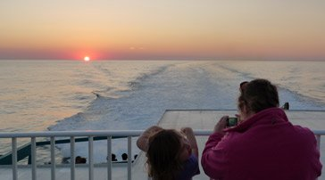 Sunset from the Barcelona to Alcudia (Mallorca) fast ferry