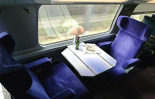 A first class 'club duo' table for two on the upper deck of the TGV Duplex train to Barcelona