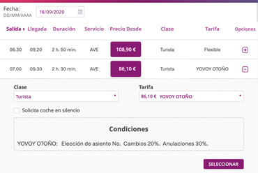 Renfe ticket website screenshot
