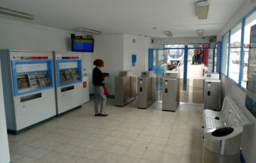 Inside Euskotren station at hendaye