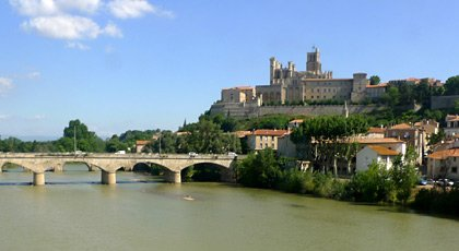 The hilltop cathedral at Beziers