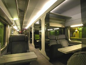 1st class on a TGV Atlantique showing semi-compartments
