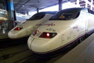 Travel around Spain by train:  Two AVE trains to Seville at Madrid Atocha