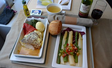 Complimentary at-seat meal in Club class from Madrid to Barcelona