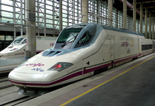London-Malaga by train:  An S102 'pato' AVE at Madrid Atocha station