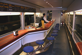 Paris to Madrid & Barcelona by trainhotel:  The cafe-bar...