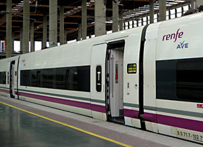 An S102 AVE train from Madrid to Malaga at Madrid Atocha