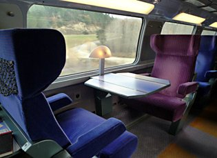 A first class table for two on the upper deck of the TGV Duplex train to Barcelona