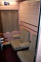 En route to Morocco by train: gran classe 2-bed sleeper (day mode)