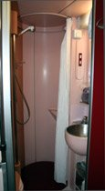 Paris to Madrid & Barcelona by trainhotel: Gran Classe sleepers have a private shower and toilet