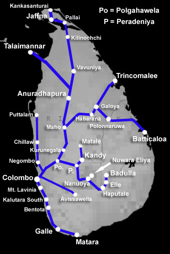 Sri Lanka train route map