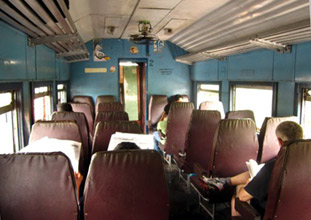 2nd class seating on a Sri Lankan train