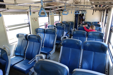 2nd class seats on a Sri Lankan blue train