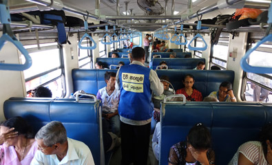 3rd class seats on a Sri Lankan blue train