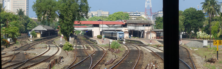 View leaving Colombo Fort from observation car
