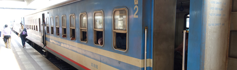 Newer cars on a Sri Lankan train
