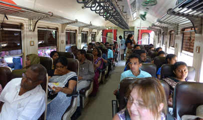 2nd class seats on a Colombo to Galle S11 train