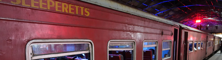 Sleeperett cars on the Colombo to Batticaloa Night Mail train